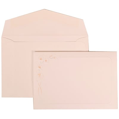 JAM Paper® Wedding Invitation Set, Small, 3 3/8 x 4 3/4, White with White Envelopes and Orange Lily, 100/pack (310825152)