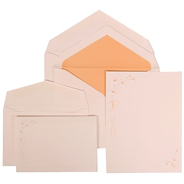 JAM Paper® Wedding Invitation Combo Sets, 1 Sm 1 Lg, White Cards with Orange Lilly Design, Orange Lined Env, 150/pk (310825154)