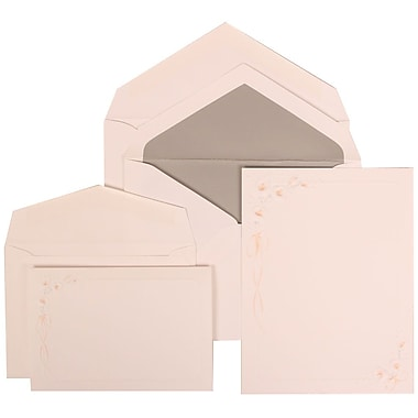 JAM Paper® Wedding Invitation Combo Sets, 1 Sm 1 Lg, White Cards with Orange Lilly, Silver Lined Envelopes, 150/pack (310825156)