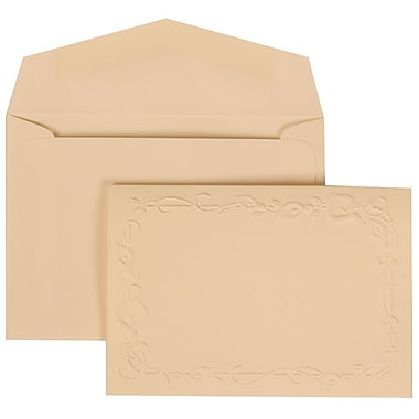 JAM Paper® Wedding Invitation Set, Small, 3 3/8 x 4 3/4, Ivory with Ivory Envelopes with Ivory Lily, 100/pack (312625285)