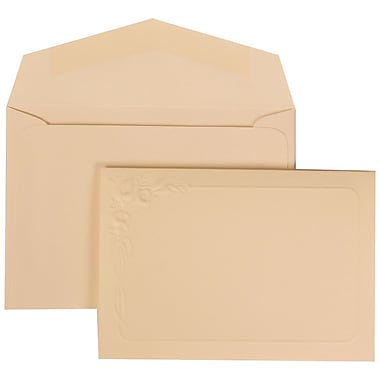 JAM Paper® Wedding Invitation Set, Small, 3 3/8 x 4 3/4, Ivory Cards with Lilly Border, Ivory Envelopes, 100/pack (312625286)