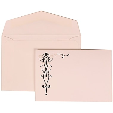 JAM Paper® Wedding Invitation Set, Small, 3 3/8 x 4 3/4, Black Vines with White Envelopes, 100/pack (304824668)