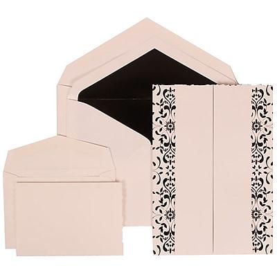 JAM Paper® Wedding Invitation Combo Sets, 1 Sm 1 Lg, White Cards, Black Castilian, Black Lined Envelopes, 150/pack (305724747)