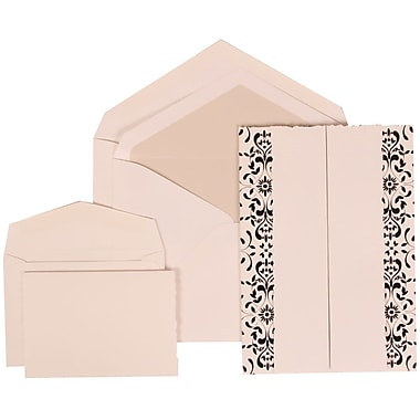JAM Paper® Wedding Invitation Combo Sets, 1 Sm 1 Lg, White Cards, Black Castilian, Crystal Lined Envelopes, 150/pk (305724749)