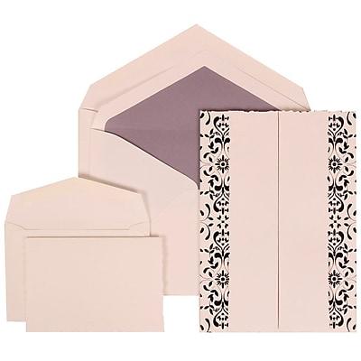 JAM Paper® Wedding Invitation Combo Sets, 1 Sm 1 Lg, White Cards, Black Castilian, Purple Lined Envelopes, 150/pack (305724751)