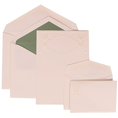 JAM Paper® Wedding Invitation Combo Sets, 1 Sm 1 Lg, White Cards with Butterfly Vines, Green Lined Envelopes, 150/pk (305825261)