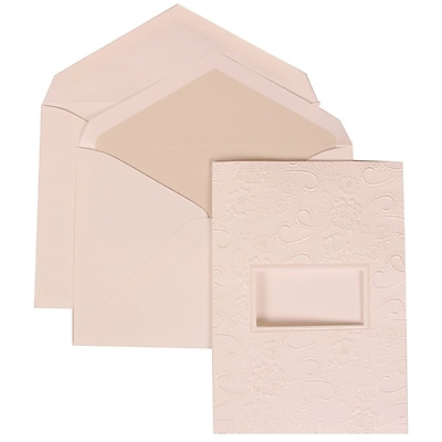 JAM Paper® Wedding Invitation Set, Large, 5.5 x 7.75, White Cards, Embossed Window, Crystal Lined Envelopes, 50/pack (306124770)