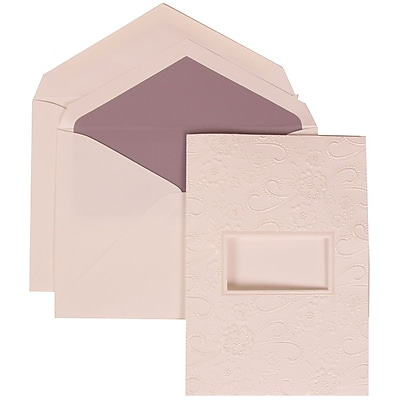 JAM Paper® Wedding Invitation Set, Large, 5.5 x 7.75, White Cards, Embossed Window, Purple Lined Envelopes, 50/pack (306124776)