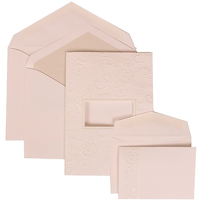 JAM Paper® Wedding Invitation Combo Sets, 1 Sm 1 Lg, White Cards, Embossed Window, Crystal Lined Envelopes, 150/pack (306124771)