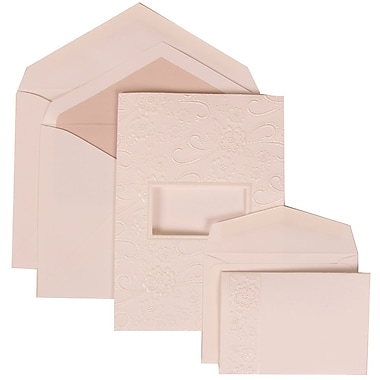 JAM Paper® Wedding Invitation Combo Sets, 1 Sm 1 Lg, White Cards, Embossed Window, Pink Lined Envelopes, 150/pack (306124773)