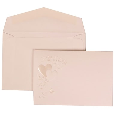 JAM Paper® Wedding Invitation Set, Small, 3 3/8 x 4 3/4, White with White Envelopes and Heart Vine, 100/pack (306324784)