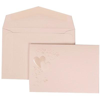 JAM Paper® Wedding Invitation Set, Small, 3 3/8 x 4 3/4, White with White Envelopes and Heart Vine, 100/pack (306324784)