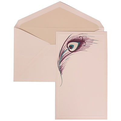 JAM Paper® Wedding Invitation Set, Large, 5.5 x 7.75, White Cards, Peacock Feathers, Crystal Lined Envelopes, 50/pk (306524791)
