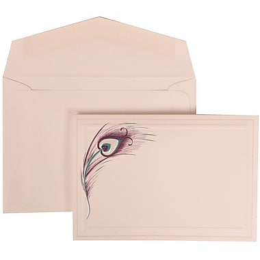 JAM Paper® Wedding Invitation Set, Small, 3 3/8 x 4 3/4, White with White Envelopes and Peacock Feather, 100/pack (306524792)