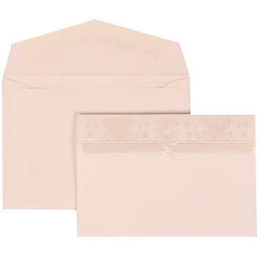 JAM Paper® Wedding Invitation Set, Small, 3 3/8 x 4 3/4, White Cards, Ivory Design, White Envelopes, 100/pack (306624795)