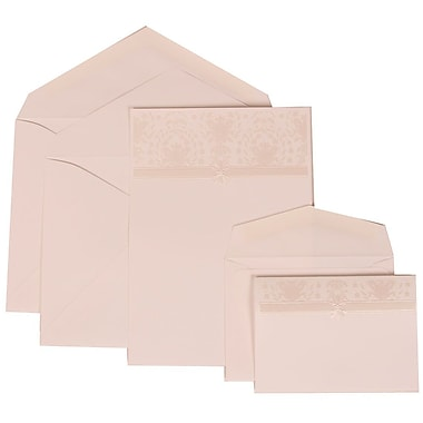 JAM Paper® Wedding Invitation Combo Sets, 1 Sm 1 Lg, Ivory Cards with Ivory Band Design, White Envelopes, 150/pack (306624800)
