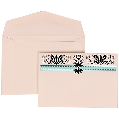 JAM Paper® Wedding Invitation Set, Small, 3 3/8 x 4 3/4, Blue with White Envelopes with Pink Band, 100/pack (306724805)