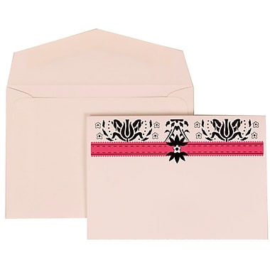 JAM Paper® Wedding Invitation Set, Small, 3 3/8 x 4 3/4, Pink with White Envelopes and Blue and Pink Band, 100/pack (306724811)