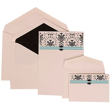 JAM Paper® Wedding Invitation Combo Sets, 1 Sm 1 Lg, White Cards with Blue Band, Black Lined Envelopes, 100/pack (306724806)