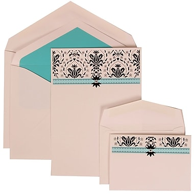 JAM Paper® Wedding Invitation Combo Sets, 1 Sm 1 Lg, White Cards with Blue Band, Blue Lined Envelopes, 150/pack (306724808)