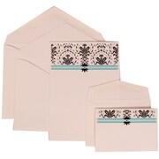 JAM Paper® Wedding Invitation Combo Sets, 1 Sm 1 Lg, White Cards with Blue Band, White Envelopes, 100/pack (306724810)
