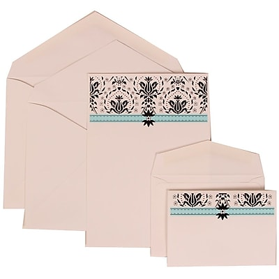 JAM Paper® Wedding Invitation Combo Sets, 1 Sm 1 Lg, White Cards with Blue Band, White Envelopes, 100/pack (306724810)