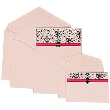 JAM Paper® Wedding Invitation Combo Sets, 1 Sm 1 Lg, White Cards, Pink Band Design, White Envelopes, 150/pack (306724817)