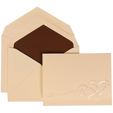JAM Paper® Wedding Invitation Set, Large, 5.5 x 7.75, Ivory, Entwined Hearts Design, Brown Lined Envelopes, 50/pack (307124840)
