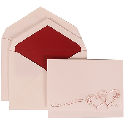 JAM Paper® Wedding Invitation Set, Large, 4 3/4 x 6 1/8, Entwined Hearts Card with Red Lined Envelopes, 50/pack (307124846)