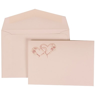 JAM Paper® Wedding Invitation Set, Small, 3 3/8 x 4 3/4, White with White Envelopes and Entwined Hearts, 100/pack (307124847)