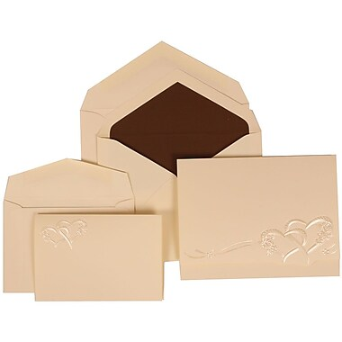 JAM Paper® Wedding Invitation Combo Sets, 1 Sm 1 Lg, Ivory, Brown Lined Envelopes, Entwined Hearts Design, 150/pack (307124841)