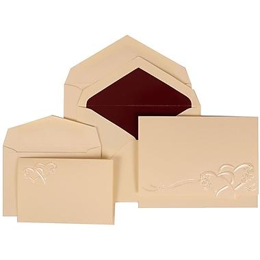 JAM Paper® Wedding Invitation Combo Sets, 1 Sm 1 Lg, Ivory, Entwined Hearts Design, Burgundy Lined Envelopes, 150/pk (307124843)