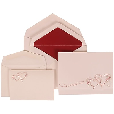 JAM Paper® Wedding Invitation Combo Sets, 1 Sm 1 Lg, White Cards with Entwined Hearts, Red Lined Envelopes, 150/pack (307124848)