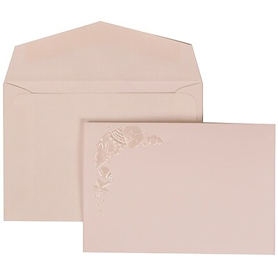 JAM Paper® Wedding Invitation Set, Small, 3 3/8 x 4 3/4, White Cards, Ivory Seashells, White Envelopes, 100/pack (307324864)