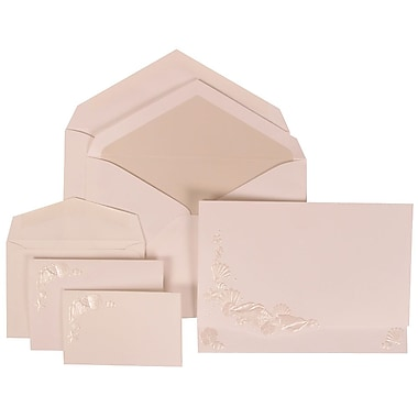 JAM Paper® Wedding Invitation Combo Sets, 1 Sm 1 Lg, White, Ivory Embossed Seashells, Crystal Lined Envelopes,150/pk (307324866)