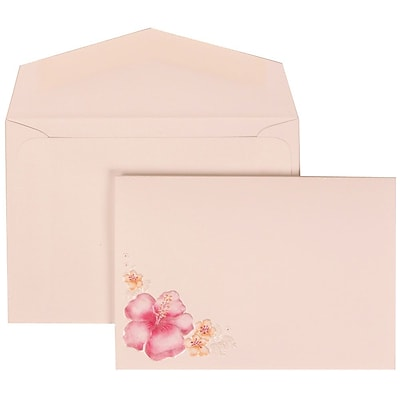 JAM Paper® Wedding Invitation Set, Small, 3 3/8 x 4 3/4, White with White Envelopes and Pink Flower, 100/pack (307524880)