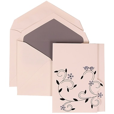 JAM Paper® Wedding Invitation Set, Large, 4 3/4 x 6 1/8, Grey Card with Grey Lined Envelopes, 50/pack (308124930)
