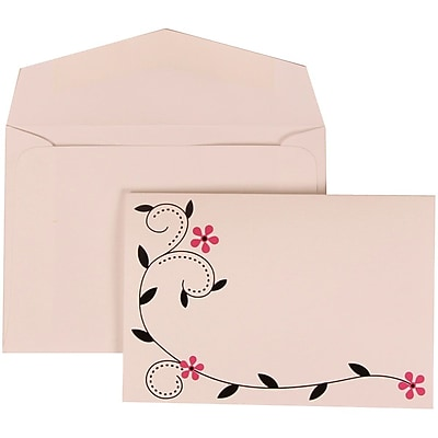 JAM Paper® Wedding Invitation Set, Small, 3 3/8 x 4 3/4, Pink with White Envelopes and Colorful Birds, 100/pack (308124928)