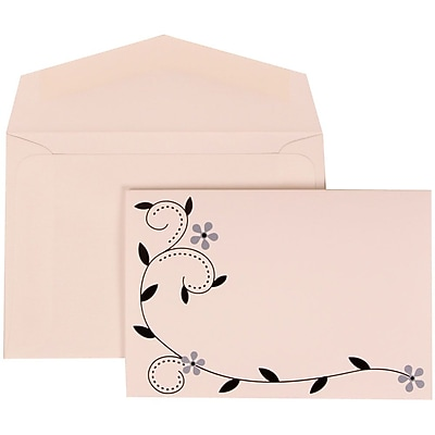 JAM Paper® Wedding Invitation Set, Small, 3 3/8 x 4 3/4, White Cards with Grey Birds Design, White Envelopes, 100/pk (308124931)