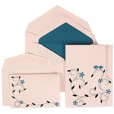 JAM Paper® Wedding Invitation Combo Sets, 1 Sm 1 Lg, White Cards with Blue Birds, Blue Lined Envelopes, 100/pack (308124937)