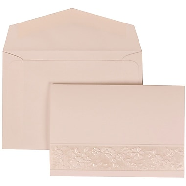 JAM Paper® Wedding Invitation Set, Small, 3 3/8 x 4 3/4, White Card, Floral Embossed Oval, White Envelopes, 100/pack (308424961)