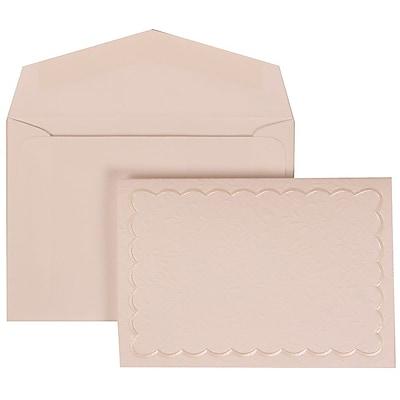 JAM Paper® Wedding Invitation Set, Small, 3 3/8 x 4 3/4, White Card, White Garden Tuxedo Border, White Env, 100/pack (308624969)