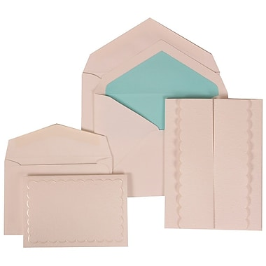 JAM Paper® Wedding Invitation Combo Sets, 1 Sm 1 Lg, White Cards, White Garden Tuxedo, Blue Lined Envelopes, 150/pk (308624971)