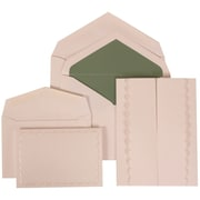 JAM Paper® Wedding Invitation Combo Sets, 1 Sm 1 Lg, White, White Garden Tuxedo Design, Green Lined Envelopes,150/pk (308624975)