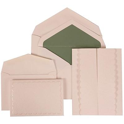 JAM Paper® Wedding Invitation Combo Sets, 1 Sm 1 Lg, White, White Garden Tuxedo Design, Green Lined Envelopes,150/pk (308624975)