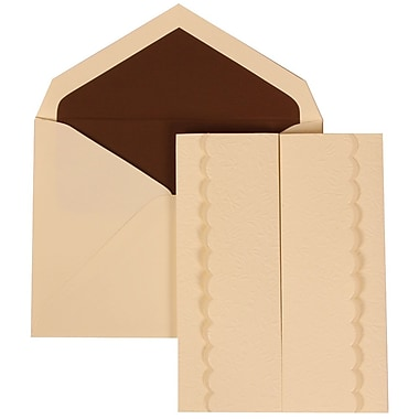 JAM Paper® Wedding Invitation Set, Large, 5.5 x 7.75, Ivory, Ivory Garden Tuxedo Design, Brown Lined Envelopes,50/pk (308724980)