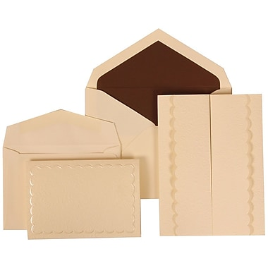 JAM Paper® Wedding Invitation Combo Sets, 1 Sm 1 Lg, Ivory, Brown Lined Envelopes, Garden Tuxedo Design, 150/pack (308724981)