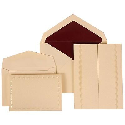 JAM Paper® Wedding Invitation Combo Sets, 1 Sm 1 Lg, Ivory, Burgundy Lined Envelopes, Garden Tuxedo Design, 150/pack (308724983)