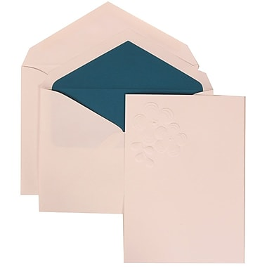 JAM Paper® Wedding Invitation Set, Large, 5.5 x 7.75, White with Blue Lined Envelopes and Embossed Flower, 50/pack (308924989)
