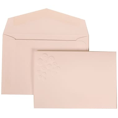 JAM Paper® Wedding Invitation Set, Small, 3 3/8 x 4 3/4, White with White Envelopes and Embossed Flower, 100/pack (308924990)